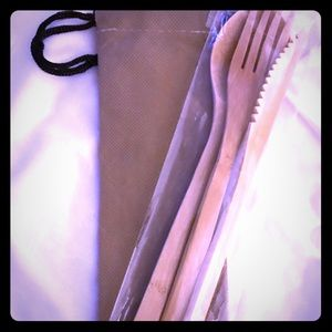 Reusable bamboo cutlery with carry bag!